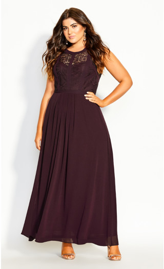 Panelled Bodice Maxi Dress - plum