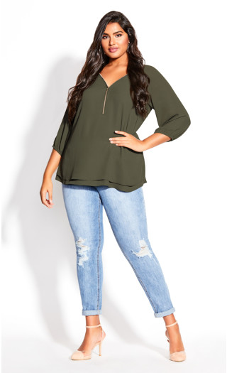 Sexy Fling Elbow Sleeve Top - fern