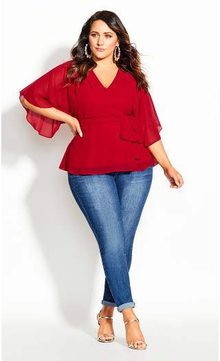 Elegant Wrap Top - red