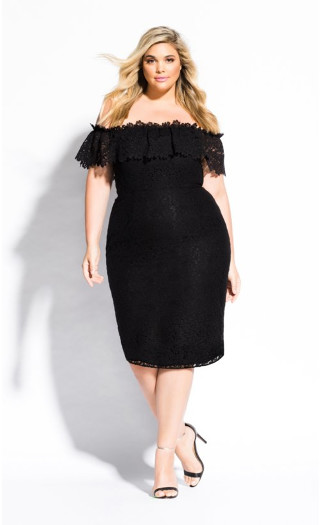 Lace Flourish Dress - black