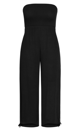 Smocked Jumpsuit - black