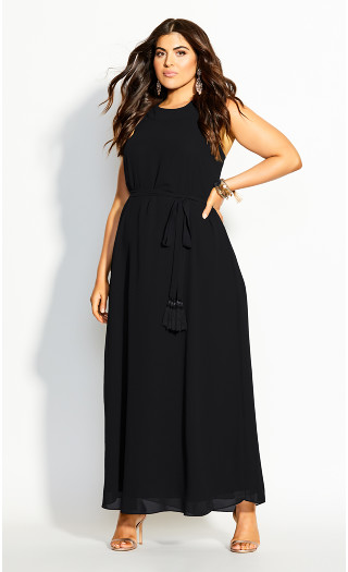 Halter Bliss Maxi Dress - black
