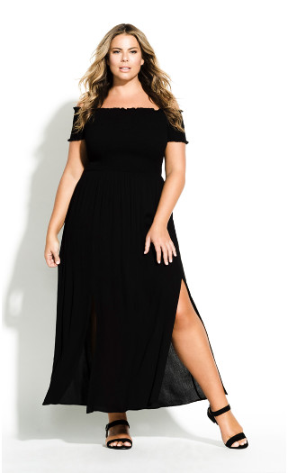 Smock Off Shoulder Maxi Dress - black