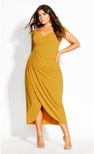 Rippled Love Dress - gold