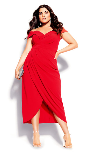 Rippled Love Dress - red