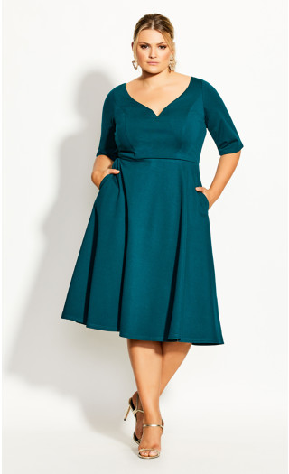Cute Girl Elbow Sleeve Dress - jade