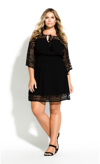 Crochet Insert Tunic - black