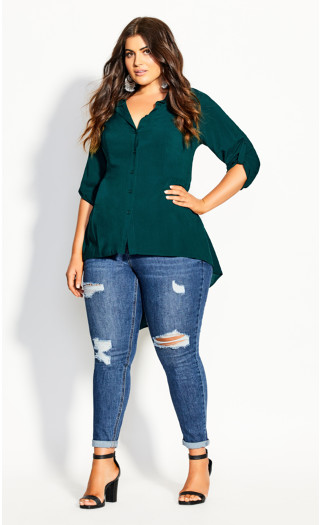 Fierce Longline Shirt - jade