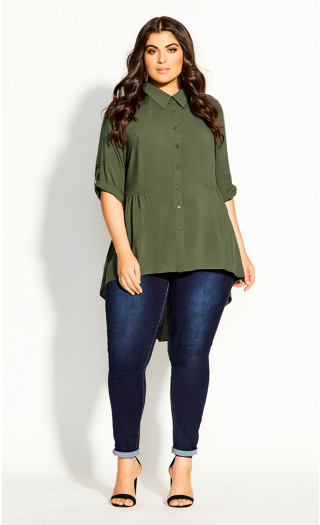 Fierce Longline Shirt - sage