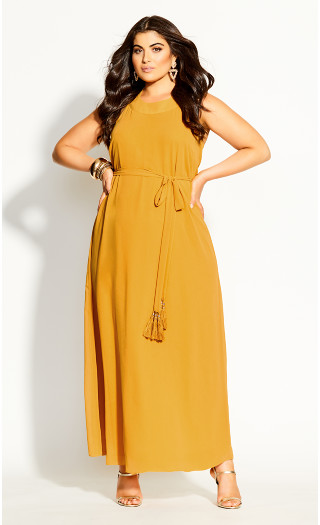 Halter Bliss Maxi Dress - honey
