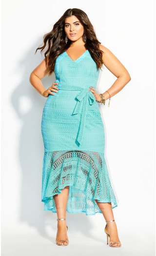 Simmer Lace Dress - topaz