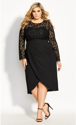 Elegant Lace Dress - black