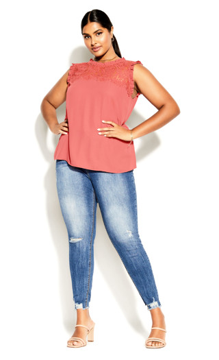 Lace Angel Top - deep guava