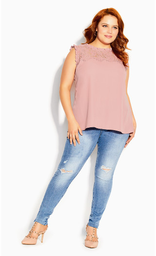 Lace Angel Top - rose pink