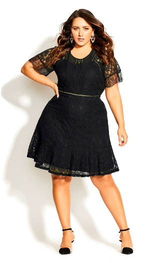 Lace Blossom Dress - black