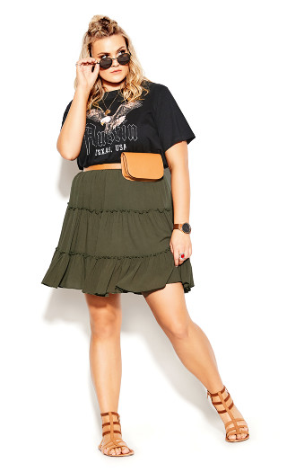 Tiered Love Skirt - khaki