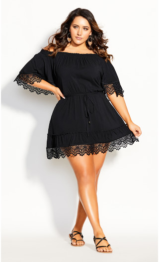 Crochet Detail Dress - black