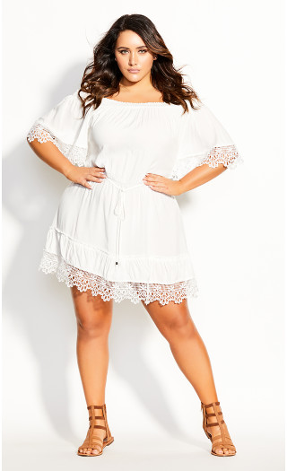 Crochet Detail Dress - ivory