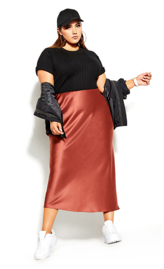 Satin Maxi Skirt - Toffee