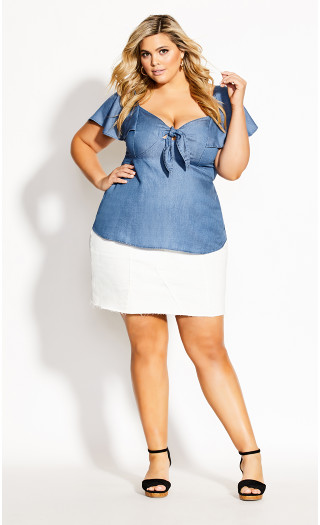 Tie Accent Top - chambray