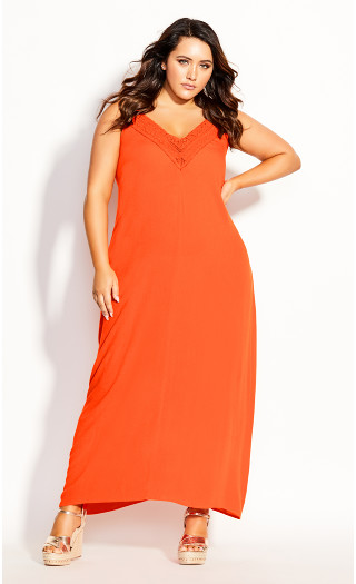 Crochet Neck Maxi Dress - orangina