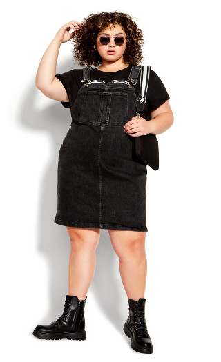 90s Clothing Outfits You Can Buy Now DRESS JORDN PINAFORE - Washed Black - 18-20 $27.60 AT vintagedancer.com