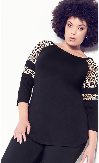 Connie Contrast Top - leopard