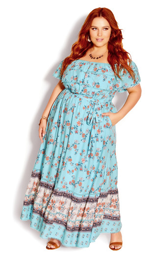 Tiered Aura Maxi Dress - turquoise