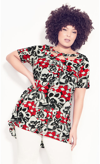 Elsie Caged Crush Top - red print