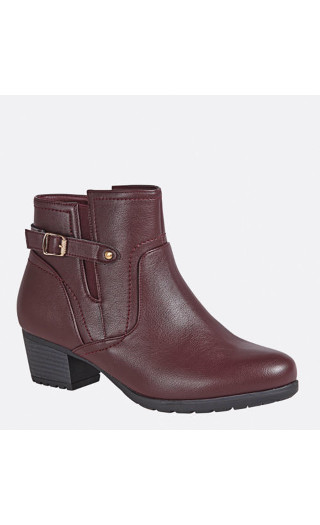 Lynn Side Buckle Ankle Boot - brown