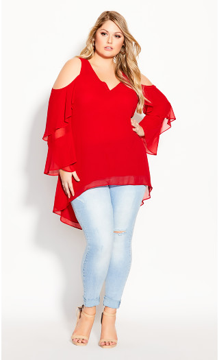 Hi Lo Cold Shoulder Top - red