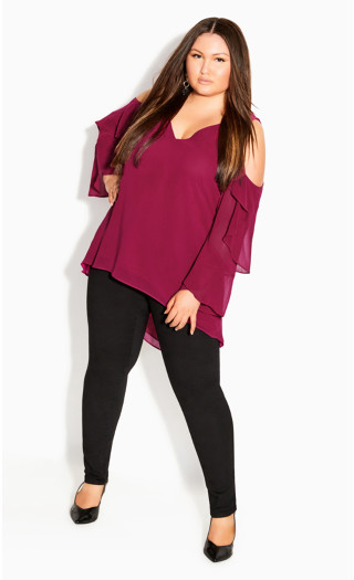 Hi Lo Cold Shoulder Top - sangria