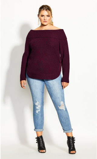 Scoop Me Up Jumper - plum