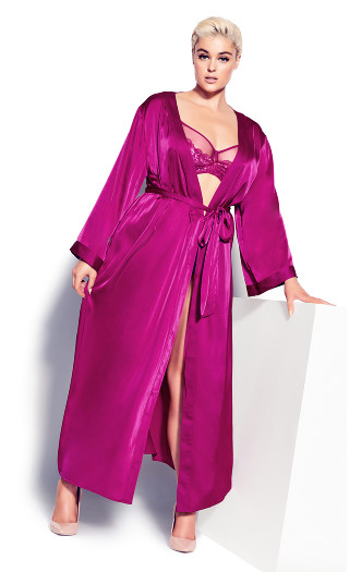 Long Satin Wrap - cerise