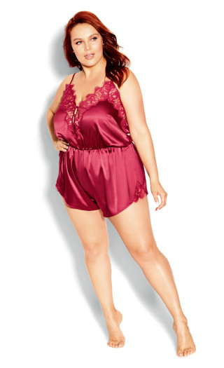 Stella Satin Playsuit - rosewood