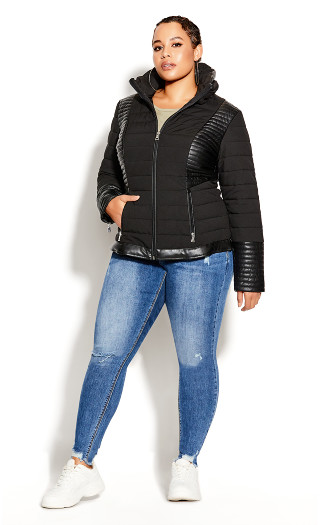 Sleek Puffer Jacket - black