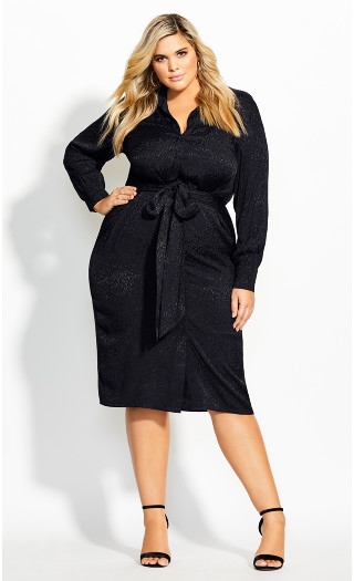 Brocade Twist Dress - black