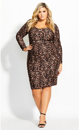 Animalistic Dress - ochre