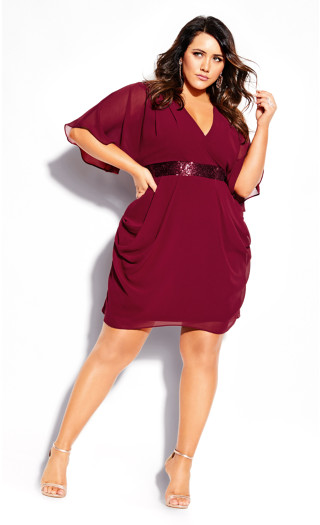 Sequin Wrap Dress - currant
