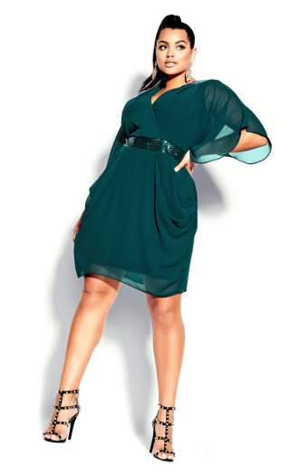 Sequin Wrap Dress - emerald