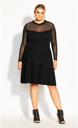 Spot Sweater Dress - black