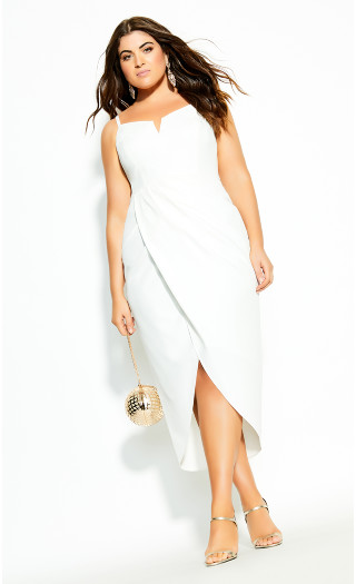 Sassy Notch Neck Dress - ivory