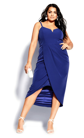 Sassy Notch Neck Dress - lapis