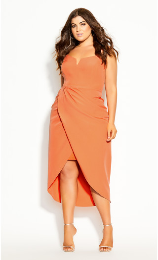 Sassy Notch Neck Dress - melon