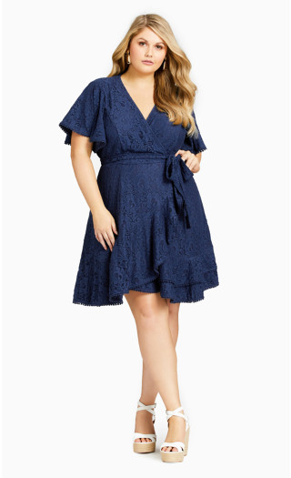 Sweet Love Lace Dress - navy
