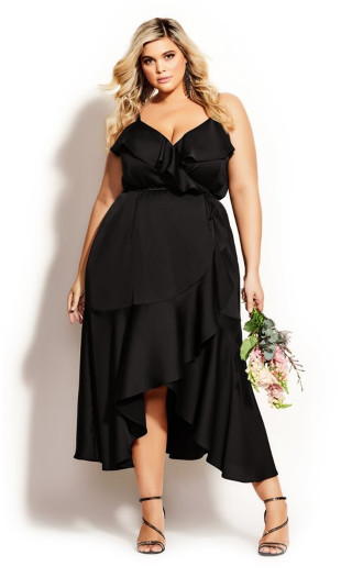 Ruffle Amore Maxi Dress - black