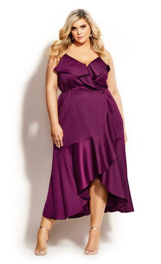 Ruffle Amore Maxi Dress - cerise