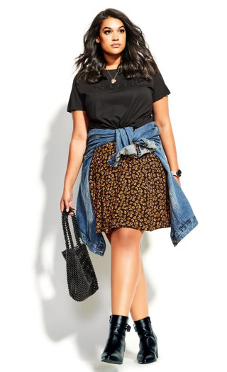 Golden Ditsy Skirt - black
