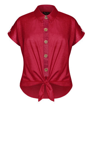 Button Explore Shirt - rhubarb