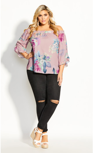 Heartwine Shoulder Top - rose